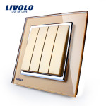 LIVOLO Gold Crystal Glass K-Pad Wall Light Switch 4G1W VL-W2K4-13 Lighting Accessories