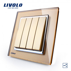 LIVOLO Gold Crystal Glass K-Pad Wall Light Switch 4G2W VL-W2K4S-13