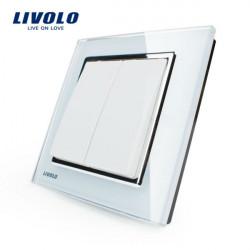 LIVOLO Vit Crystal Glass K-Pad Vägglampa Switch 2G1W VL-W2K2-12