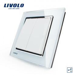 LIVOLO White Crystal Glass K-Pad Wall Light Switch 2G2W VL-W2K2S-12