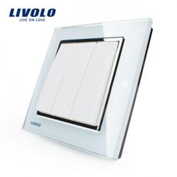 Livolo weiße Kristallglas K Pad Wand Lichtschalter 3G1W VL W2K3 12