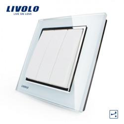LIVOLO Vit Crystal Glass K-Pad Vägglampa Switch 3G2W VL-W2K3S-12