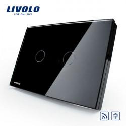 Livolo Sort Crystal Glass Lysdæmper & Fjernudløser VL-C302DR-82