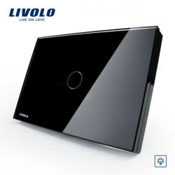 Livolo Schwarz Kristallglas Dimmerschalter VL C301D 82 AC110 250V