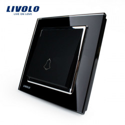 Livolo Black Crystal Glass Doorbell Switch Wall Push Button Switch