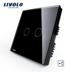 Livolo Black Crystal Glass Intermediate Switch VL-C302S-62 AC110-250V