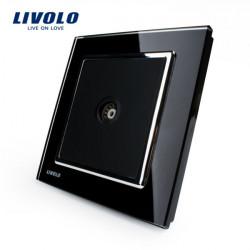 Livolo Svart Kristallglas Panel Modern TV Vägguttag VL-W291V-11