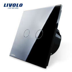 Livolo Black Crystal Glass Touch Panel Switch EU Standard VL-C702-12
