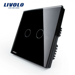 Livolo Svart Kristallglas Tryckpanelsomkopplaren VL-C302-62 AC110-250V