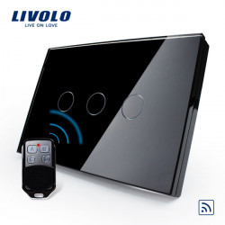 Livolo Black Crystal Glass Touch&Remote Switch VL-C303R-82 AC110-250V