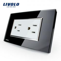 Livolo Black Crystal Glass Wall Power Socket VL-C3C2US-82 AC125-230V