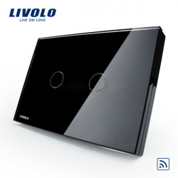 Livolo Black Crystal Remote&Touch Screen Switch VL-C302R-82 AC110-250V
