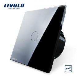 Livolo Schwarz Glass Touch Panel EU Norm Kreuzschalter VL C701S 12