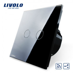 Livolo Schwarz Glass Touch Panel Intermediate & Fern EU Schalter VL C702SR 12
