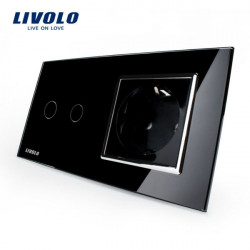 Livolo Black Glass Touch Switch With EU Wall Socket VL-C702-12/VL-C7C1EU-12