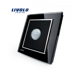 Livolo Black/Ivory White Crystal Glass PIR Motion Sensor Wall Switch