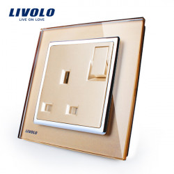 Livolo Gold 1G1W Push Button Væg Switch Med Sokkel UK Plug