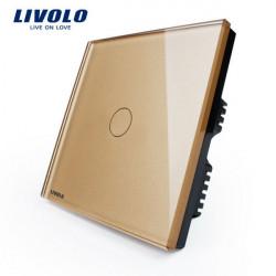 Livolo Golden Kristallglas Tryckpanelsomkopplaren VL-C301-63 AC110-250V
