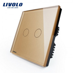 Livolo Golden Crystal Glass Touch Panel Switch VL-C302-63 AC110-250V