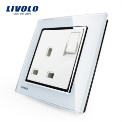 Livolo White 1G1W Push Button Wall Switch Socket Plug VL-W2Z1UK1-12