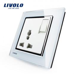 Livolo Weiß 3pins 1G1W Push Button Multifunktions Buchse Schalter