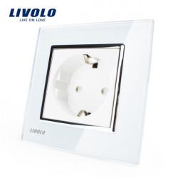 Livolo weiße Kristallglas 16A Steckdose VL C7C1EU 11 AC110 ~ 250V