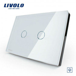 Livolo Hvid Crystal Glass Lysdæmper Switch VL-C302D-81 AC110-250V