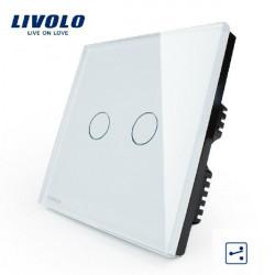 Livolo weiße Kristallglas Zwischenschalter VL C302S 61 AC110 250V