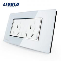Livolo Vit Crystal Glass Multifunktionsvägguttaget VL-C3C2B-81