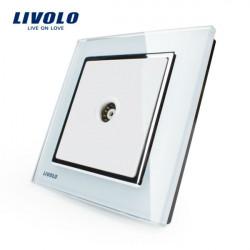 Livolo weiße Kristallglas Verkleidung Moderne TV Wandsteckdose VL W291V 12