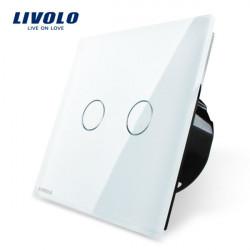 Livolo Vit Kristallglas Tryckpanelsomkopplaren EU Standard VL-C702-11