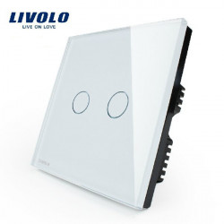 Livolo White Crystal Glass Touch Panel Switch VL-C302-61 AC110-250V