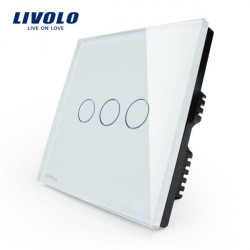 Livolo White Crystal Glass Touch Panel Switch VL-C303-61 AC110-250V