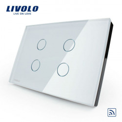 Livolo White Crystal Glass Touch&Remote Switch VL-C304R-81 AC110-250V