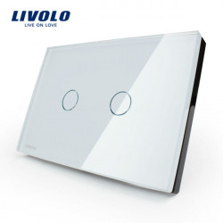 Livolo White Crystal Glass Touch Screen Switch VL-C302-81 AC110-250V