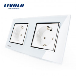 Livolo weiße Glasdoppel EU 16A Wandsteckdose VL C7C1EU 11 / VL C7C1EU 11
