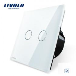 Livolo White Glass Panel Remote & Touch Switch EU Standard VL-C702R-11