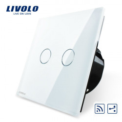 Livolo White Glass Touch Panel Intermediate & Remote EU Switch VL-C702SR-11