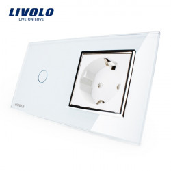 Livolo White Glass Touch Switch With EU Wall Socket VL-C701-11/VL-C7C1EU-11