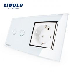 Livolo Vit Glass Touch Switch med EU Vägguttag VL-C702-11 / VL-C7C1EU-11