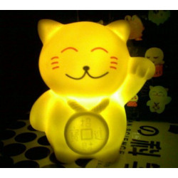 Lucky Cat Maneki Neko Shape Fortune Cat LED Colourful Night Light