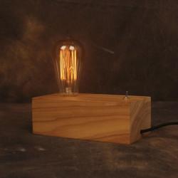 Nostalgisk Dæmpning Vintage Edison Lys Solid Wooden Bordlampe