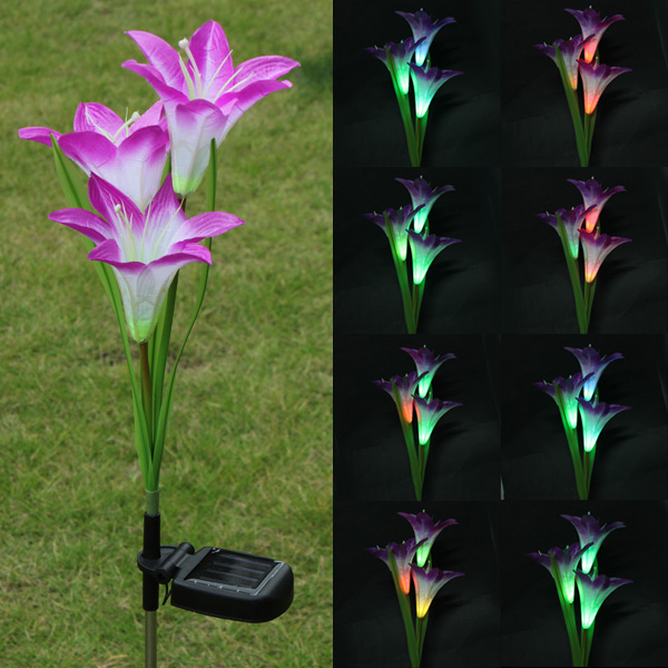 Purple Lily Solar Powered 3 LED Blomma Party Ljus LED-belysning