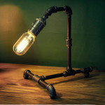 Retro Vintage Water Pipe Edison Bulb Table Lamp Light Home Bar Decor LED Lighting