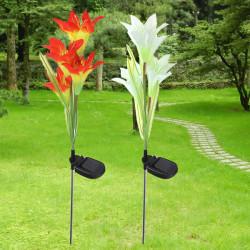 Solar 4 LED Lily Blomma Ljus Utomhus Trädgård Gräsmatta Färg Skiftande Lampa