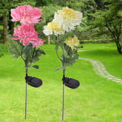 Solkraft 3 LED Chrysanthemumblomma Ljus Utomhus Trädgård Gräsmatta Lampa
