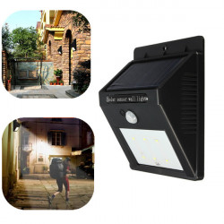 Solar Power 6 LED PIR Motion Sensor Light Outdoor Garden Wall Lamp