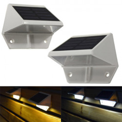 Solar Powered LED Light Pathway Step Stair Wall Mounted Garden Light