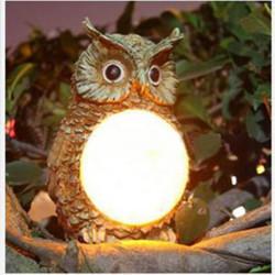 Solar Powered Owl LED Light Outdoor Garden Decor Statue Landscape Lamp