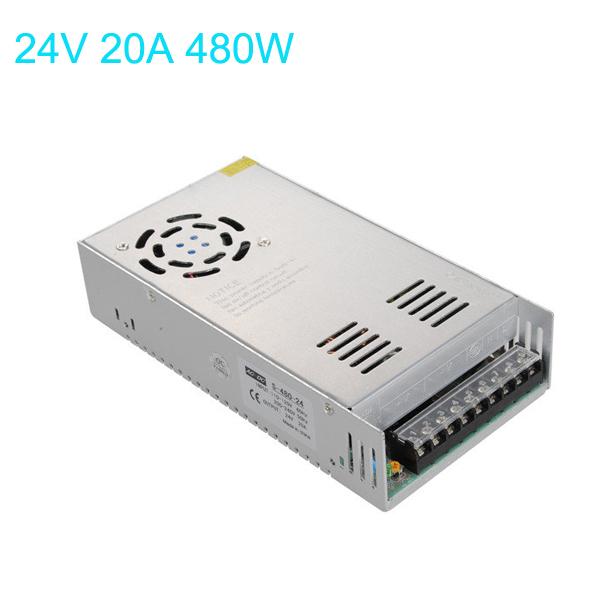Switching Power 110 / 220V Til 24V 20A 480W for LED Bånd Lysbånd LED Bånd / Lysbånd